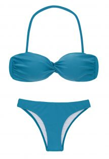 Blue fixed bandeau bikini with with removable strap - NILO BANDEAU