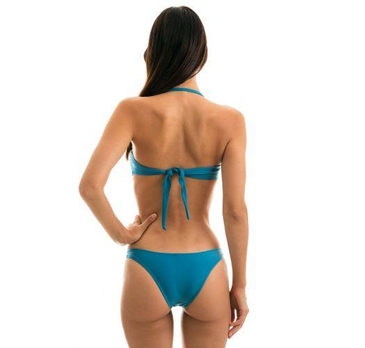 Blue fixed bandeau bikini with with removable strap - NILO BANDEAU