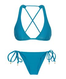 Blue crossover triangle halter bikini with scrunch bottom - NILO CORTINAO