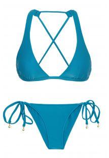 スクランチボトムが付いた青いクロスオーバー三角ホルタービキニ - NILO CORTINAO