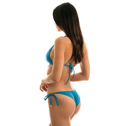 Azurblauer Triangel-Bikini mit Kreuzträgern - NILO CORTINAO
