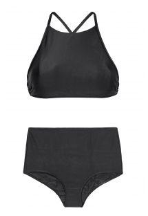Fato de banho preto com cintura subida e top curto - NOITI