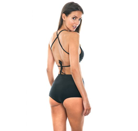 Black high-waisted bathing suit with crop top - NOITI