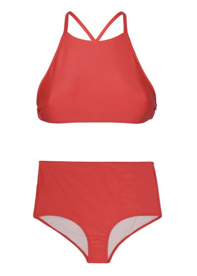 Red high-waisted bathing suit with crop top - NOITI RED