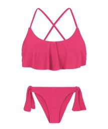 Fuchsiarosa bikini med volangprydd kort topp och korsad rygg - OLINDA BABADO