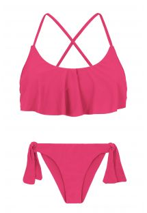 Back crossed and frilled pink fuchsia  bikini - OLINDA BABADO