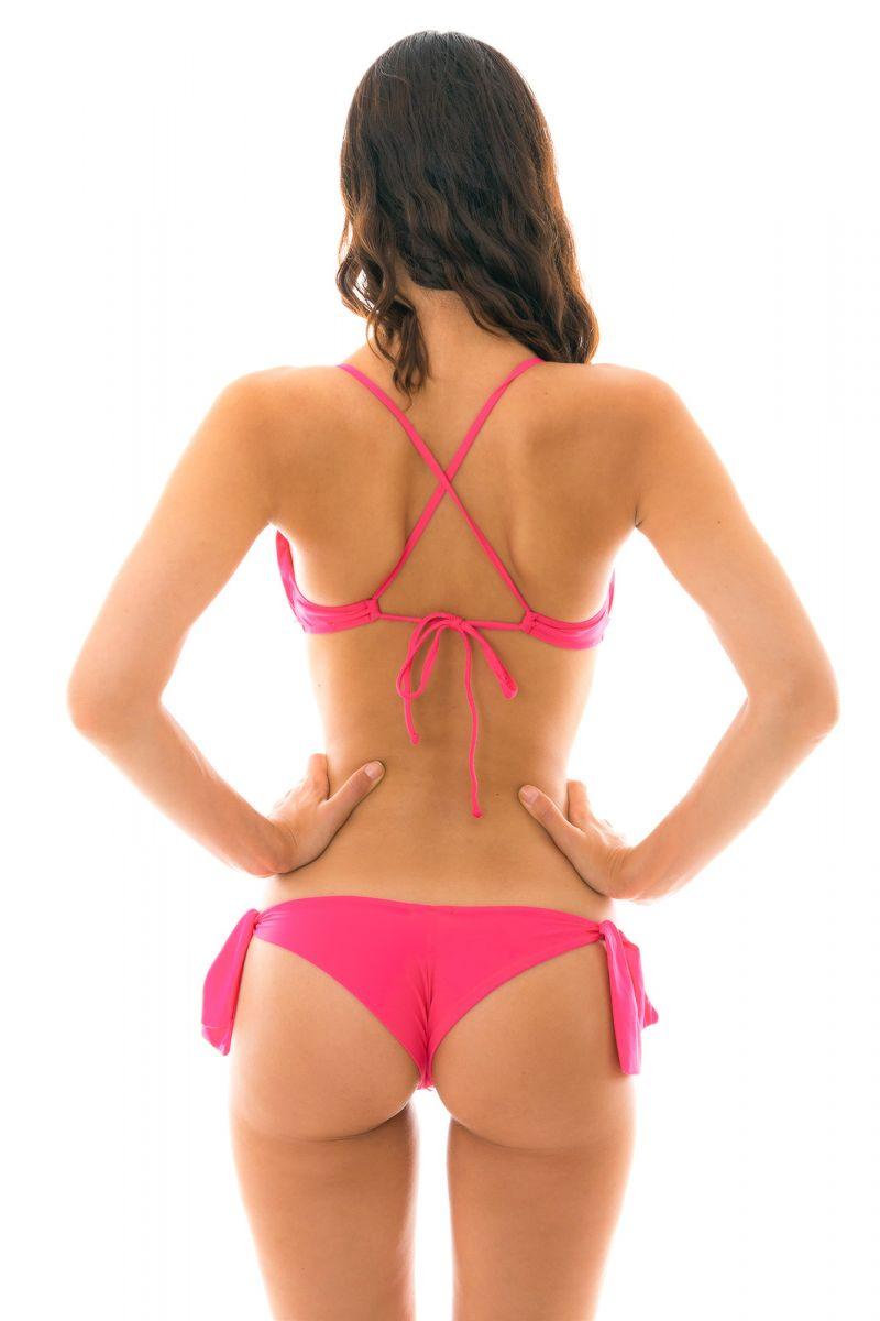 Back crossed and frilled pink fuchsia  bikini - OLINDA BABADO