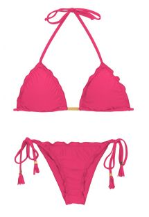 Scrunch bikini with wavy edges - fuchsia - OLINDA EVA