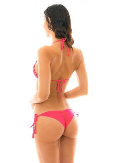 Fuchsiarosa skrynklad brasiliansk bikini med tofsar - OLINDA EVA
