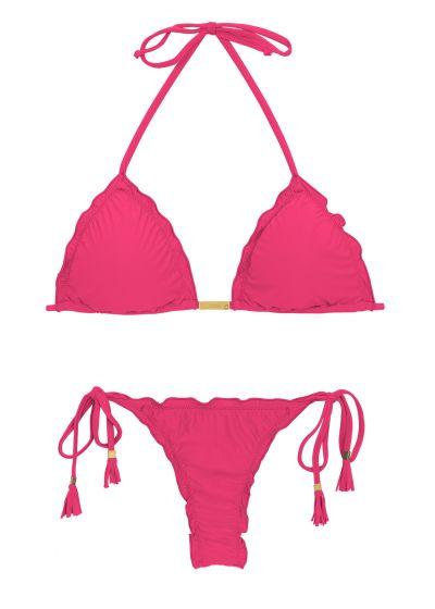 String bikini with wavy edges -fuchsia - OLINDA EVA MICRO