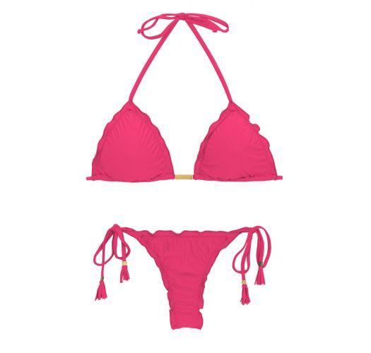 Różowe wiązane bikini stringi z frędzelkami - OLINDA EVA MICRO