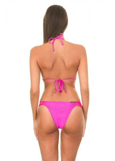 Pink triangle bikini with bra cups, fixed bottoms - ONIX PINK