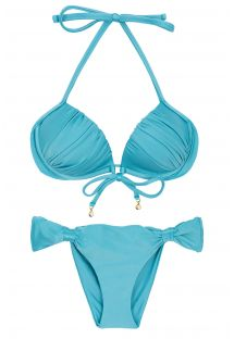 Sky blue balconette bikini with sliding rings - ORVALHO BALCONET