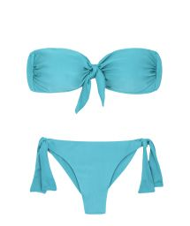 Sky blue side-tie scrunch bikini with a  bandeau top - ORVALHO BANDEAU