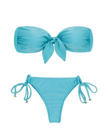 Sky blue bandeau string bikini with a front knot - ORVALHO BANDEAU MICRO