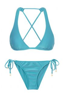 Sky blue scrunch side-tie bikini with - ORVALHO CORT COMFORT