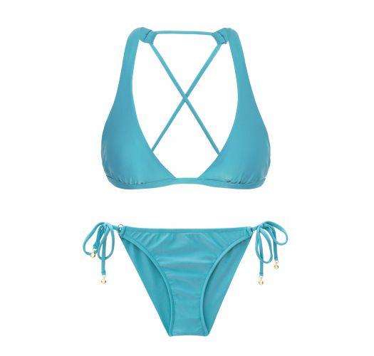 Sky blue scrunch side-tie bikini with - ORVALHO CORT COMFORT