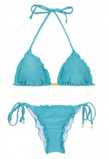 Sky blue side-tie scrunch bikini wavy edges - ORVALHO FRUFRU