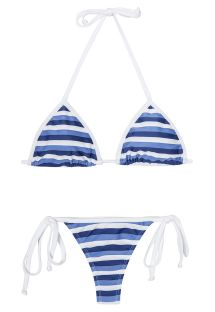 Blue and white striped thong swimsuit - OURIÇO DO MAR