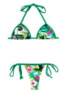 Green string bikini with a tropical flower print - PAISAGEM MICRO