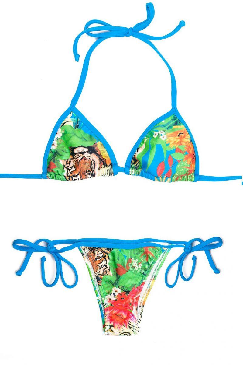 Tropical triangle bikini with blue ties - PALOMBAGGIA