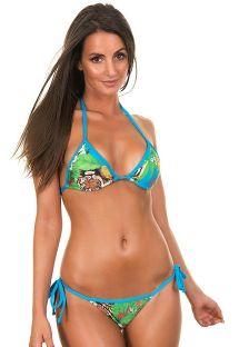 Tropski trouglasti bikini sa plavim vezicama - PALOMBAGGIA