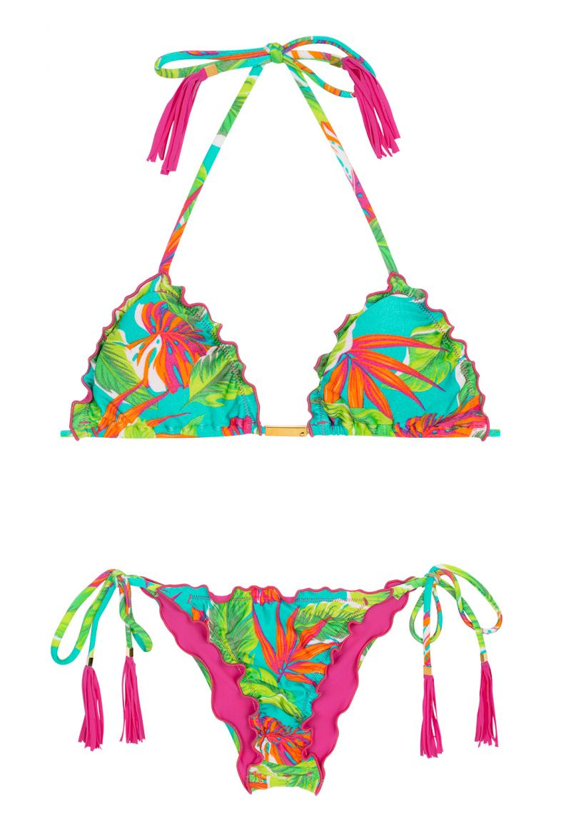 Tropical print scrunch bikini top with pink-fringed tassels - PARADISE GREEN FRUFRU