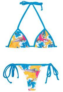 Bikini med g-streng og farvestrålende mønster - PASSARO AZUL