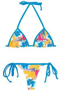 String-bikini, farget lekent mønster - PASSARO AZUL