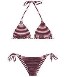 Brazilian bikini with stripes in three colours - PERNAMBUCO CHEEKY