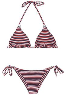 Brazilian bikini with stripes in three colours - PERNAMBUCO CHEEKY