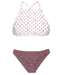 Striped crop top bikini with a mixture of prints and patterns - PERNAMBUCO SPORTY