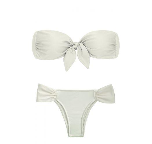 Off-white knotted bandeau bikini - PEROLA BANDEAU FRANZIDO