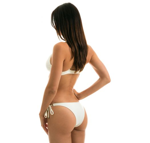 Accessorized off-white crossover front-tied bikini - PEROLA TRI ARG