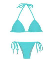Бразильский купальник цианово-голубого цвета с дополнениями - PISCINA TRI