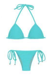 Maillot de bain brésilien bleu cyan accessoirisé - PISCINA TRI
