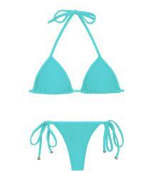 Turquoise side-tie string Brazilian bikini - PISCINA TRI MICRO