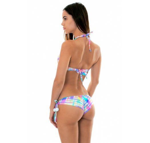Pastel check-print push-up bikiniwith tassels - PLAID BORBOLETA