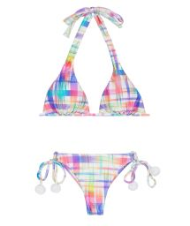 Check-print triangle scarf bikini with tassels - PLAID CORTINAO