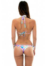 Check-print triangle scarf bikini with tassels - PLAID CORTINAO