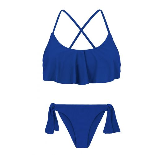 Back-crossed and frilled navy blue bikini - PLANET BLUE BABADO
