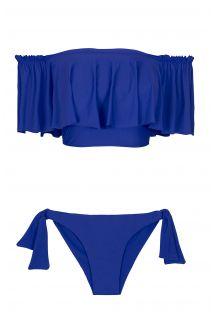Dark blue bandeau bikini with wide frill- PLANETARIO BABADO