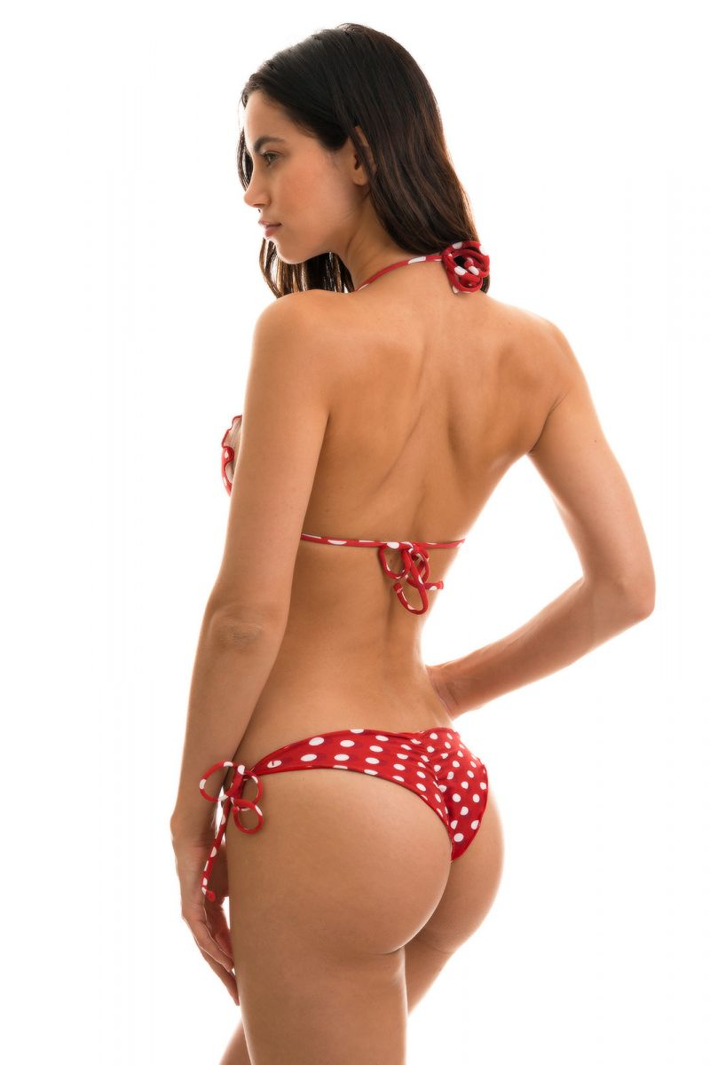 BBS X RIO DE SOL - Wavy red scrunch bikini in polka dots - POA RED FRUFRU