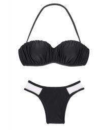Black bandeau bikini, low-cut bottom, bi-material - POKO TULE PRETO