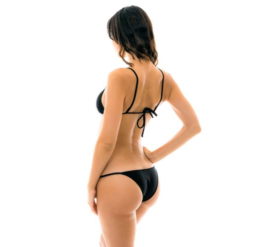 Black side-adjustable Brazilian bikini - PRETO ARG FIXO
