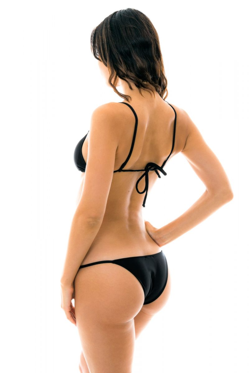 Black side-adjustable Brazilian bikini - PRETO ARG FIXO
