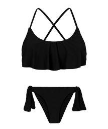 Crop-Top-Bikini mit schwarzem volant gekreuzten Rückenträgern - PRETO BABADO