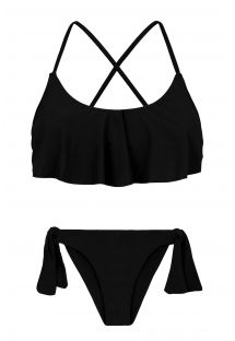 Black side-tie bikini with frilled top - PRETO BABADO