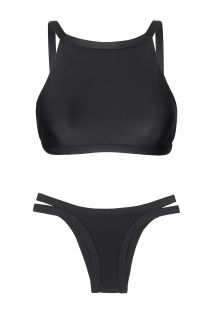 A black crop top bikini with raised edges - PRETO CROPPED