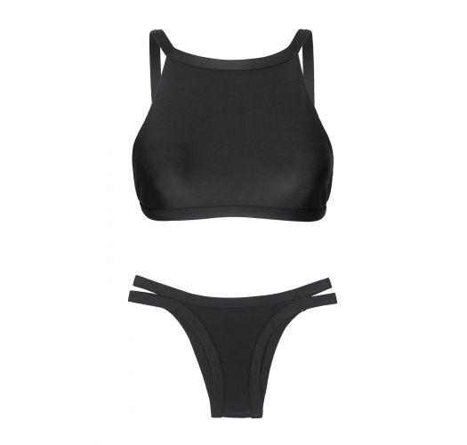 Czarne bikini z górą typu crop top i figami ozdobionymi na biodrach paseczkami - PRETO CROPPED